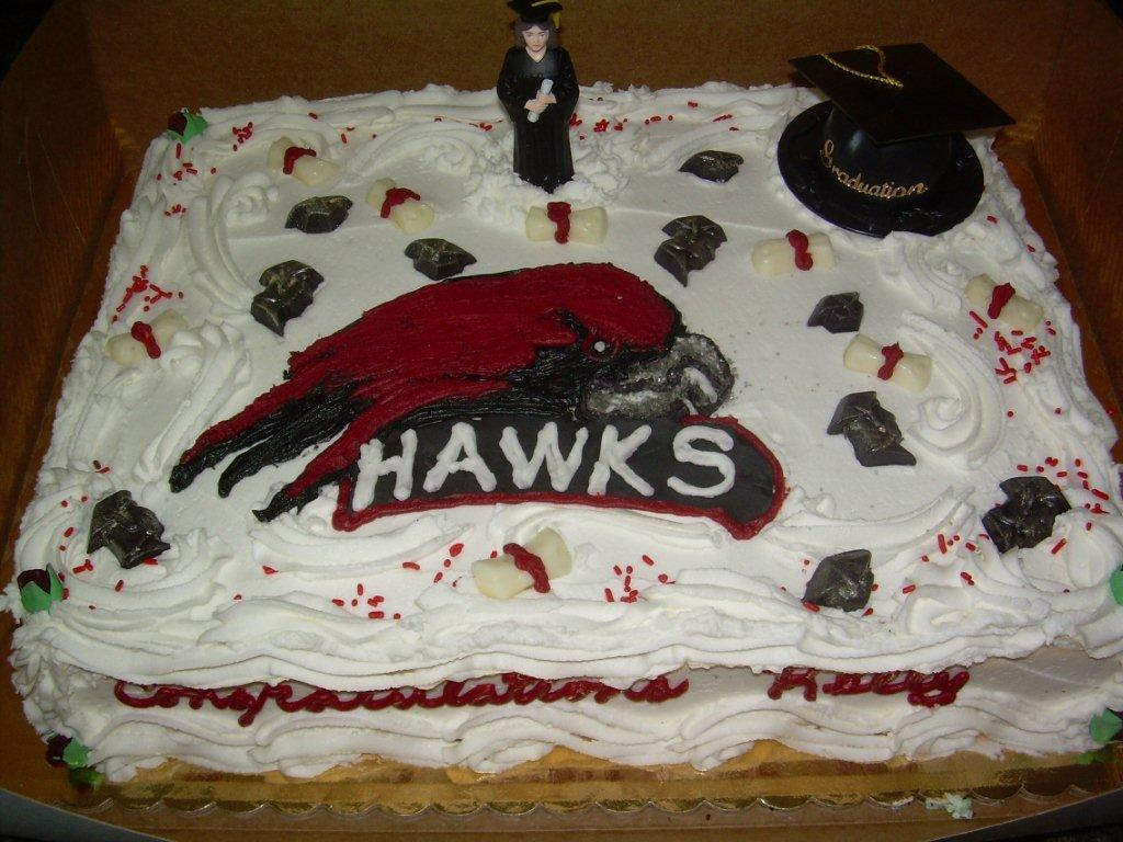ST. JOE'S HAWKS GRADUATION CAKE-